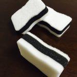 シンプルカラーのおすすめおしゃれスポンジ│100均Seria(セリア)「手にフィットする泡立ちスポンジ(白&黒)」